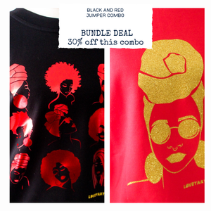 Two Sweaters 30% off  - Black and Red Jumper combo - Featured print - loveyaayaa
