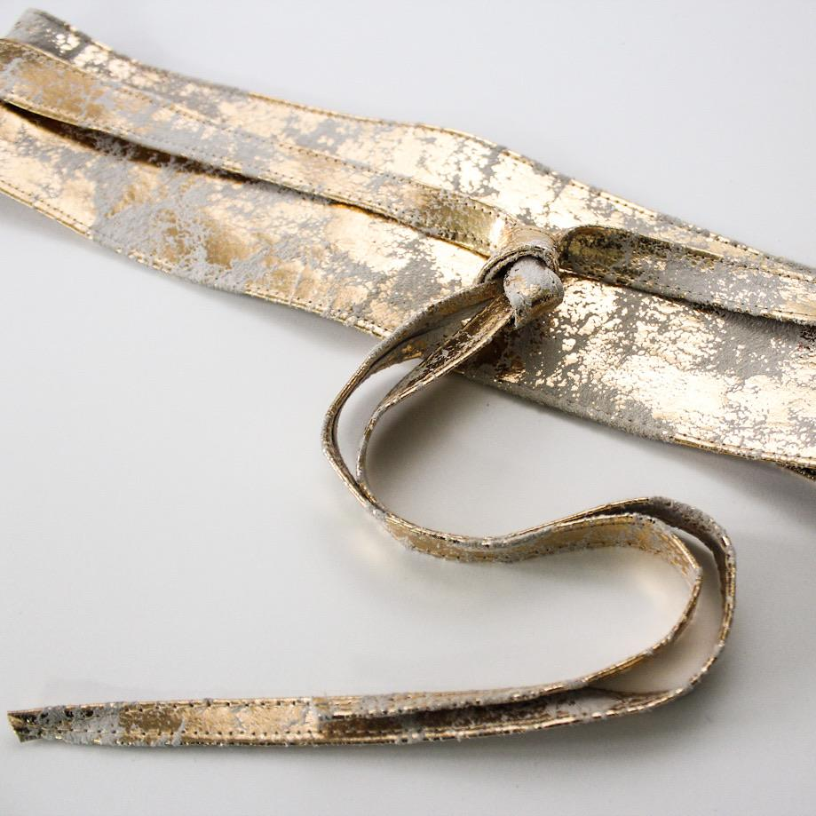 Distressed Gold Leather Obi Belt  | Bridesmaid Sash - loveyaayaa