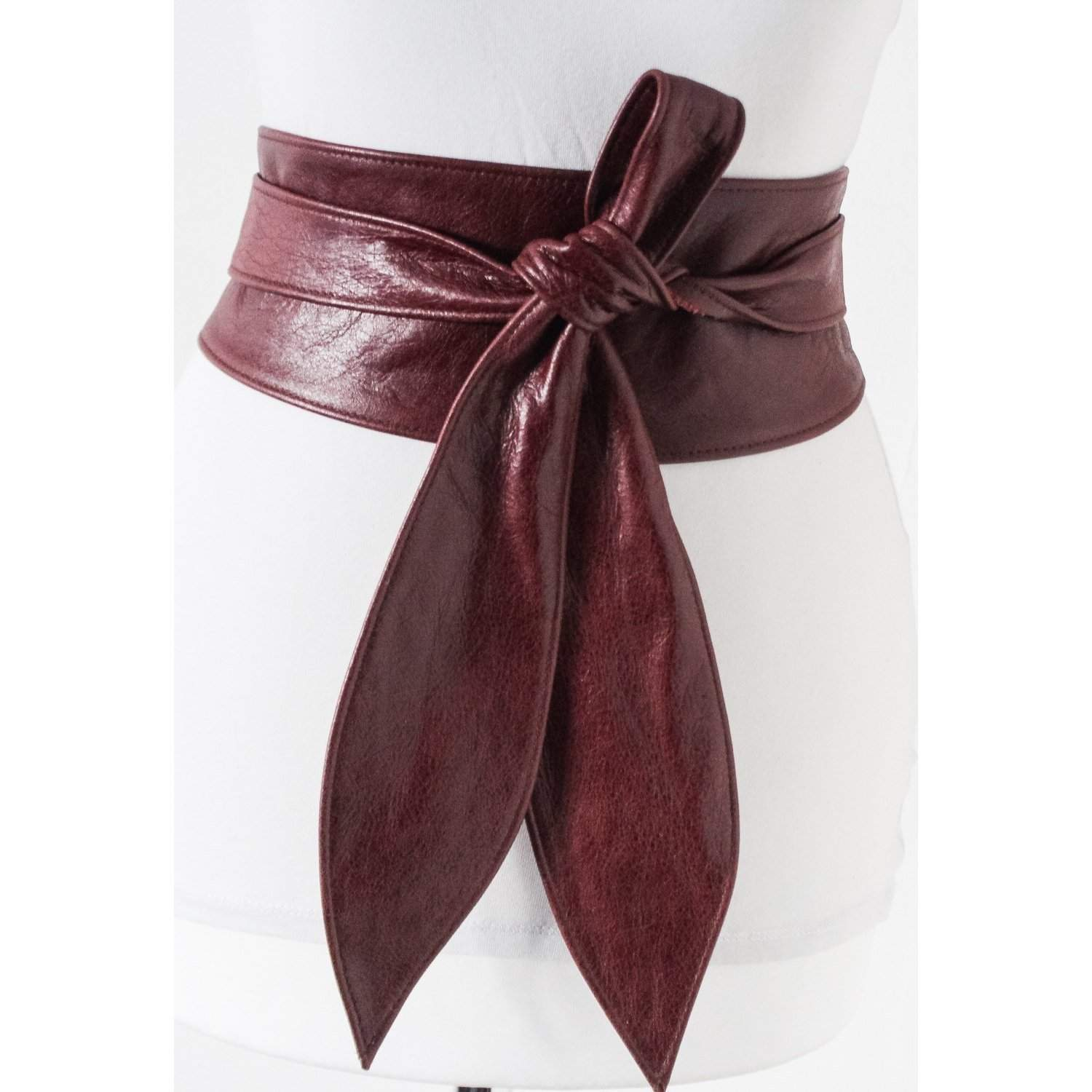 Maroon Burgundy Leather Obi Belt | Leather tie belt | Real Leather Belt| Ladies Belt | Plus size belts - loveyaayaa