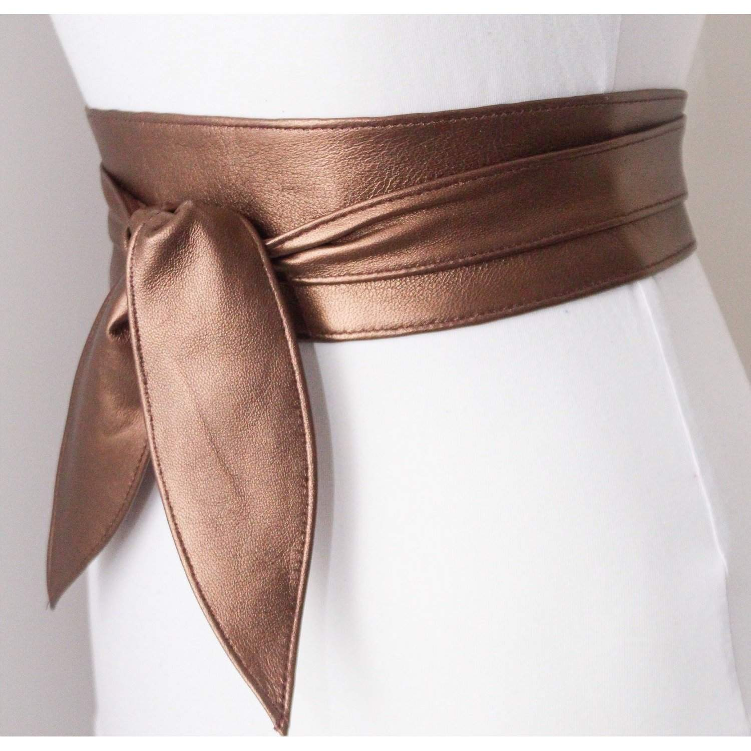 Metallic Brown Bronze Leather Tulip Tie Obi Belt | Waist Belt | Sash Tie Belt | Leather wrap Belt | Bridesmaid belt | Petite to Plus Size - loveyaayaa