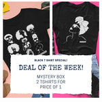 MYSTERY BOX 2 for price of 1 - Black T shirt various print  - ladies fit - loveyaayaa
