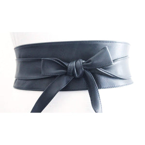 Navy Blue Leather Obi Belt - loveyaayaa