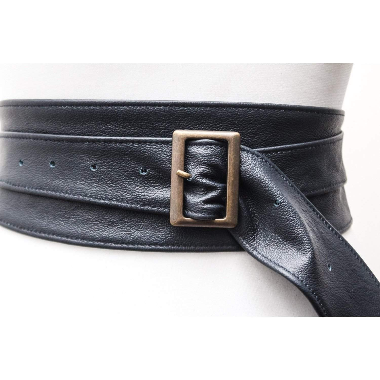 Navy Blue Leather Obi Buckle Belt - loveyaayaa