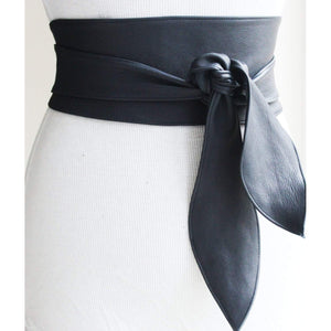 Navy Leather Obi Belt - loveyaayaa