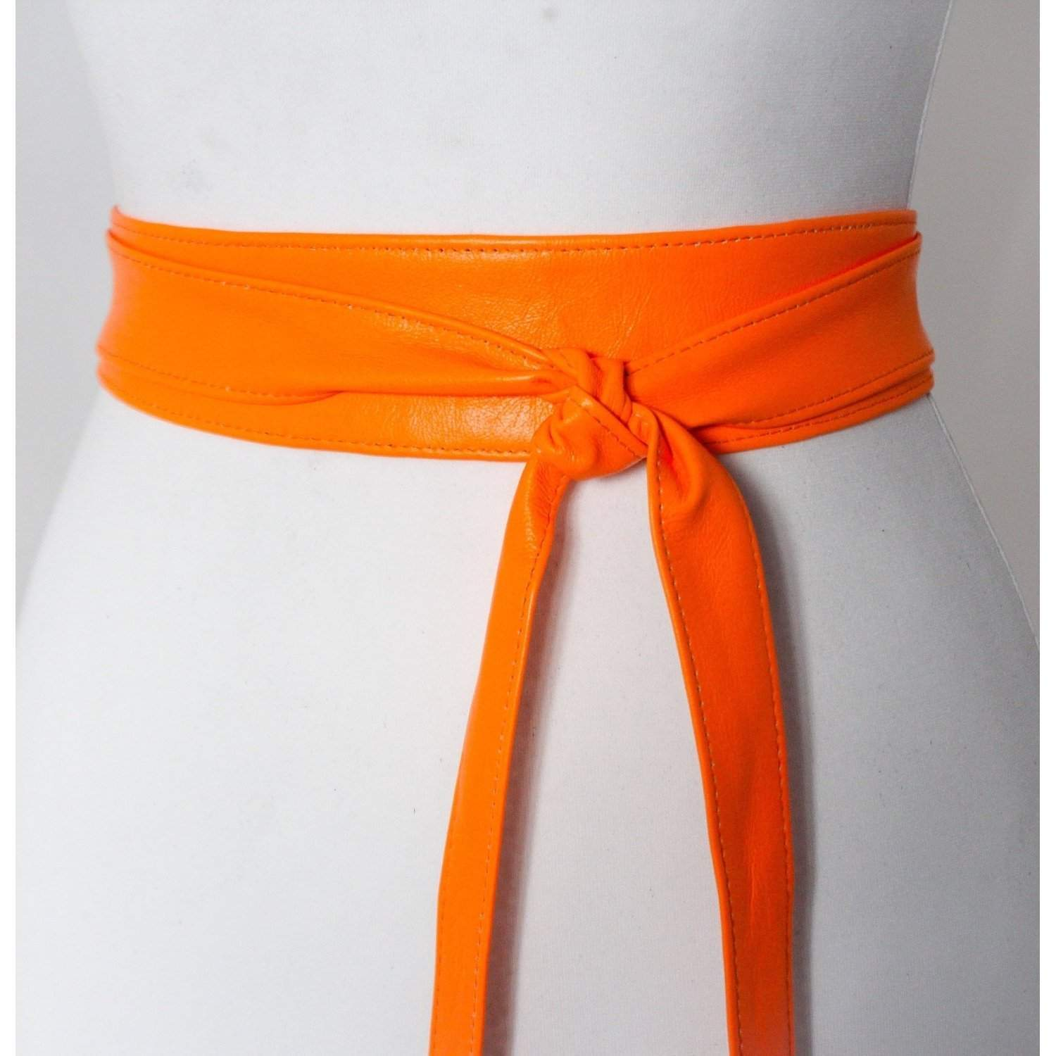 Neon Orange Soft Leather Obi Belt | Waist Obi Belt | Leather tie belt | Real Leather Belt | Plus size belts| Obi Sash Belt | cos play - loveyaayaa