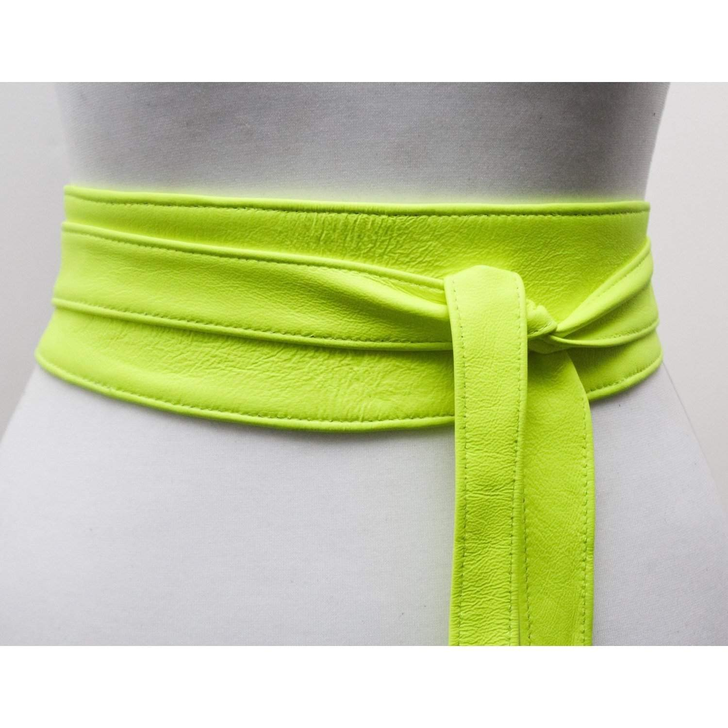 Neon Yellow  Soft Leather Obi Belt | Waist Obi Belt - loveyaayaa