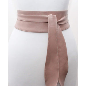 Nude Leather Obi Belt tulip tie| Wedding Outfit | Bridesmaids belt | Waist Belt | Petite to Plus Size belts | Nude leather corset belt - loveyaayaa