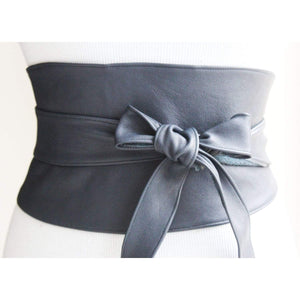 Obi Belt Navy Wide Leather | Corset Waist Belt | Leather obi belt | Corset Belt| Plus size belts - loveyaayaa