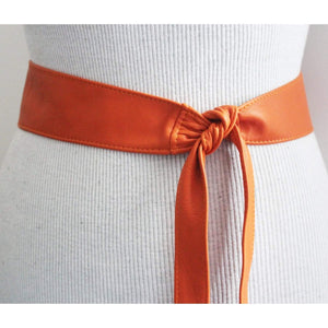 Orange soft Leather Narrow Obi Belt - loveyaayaa
