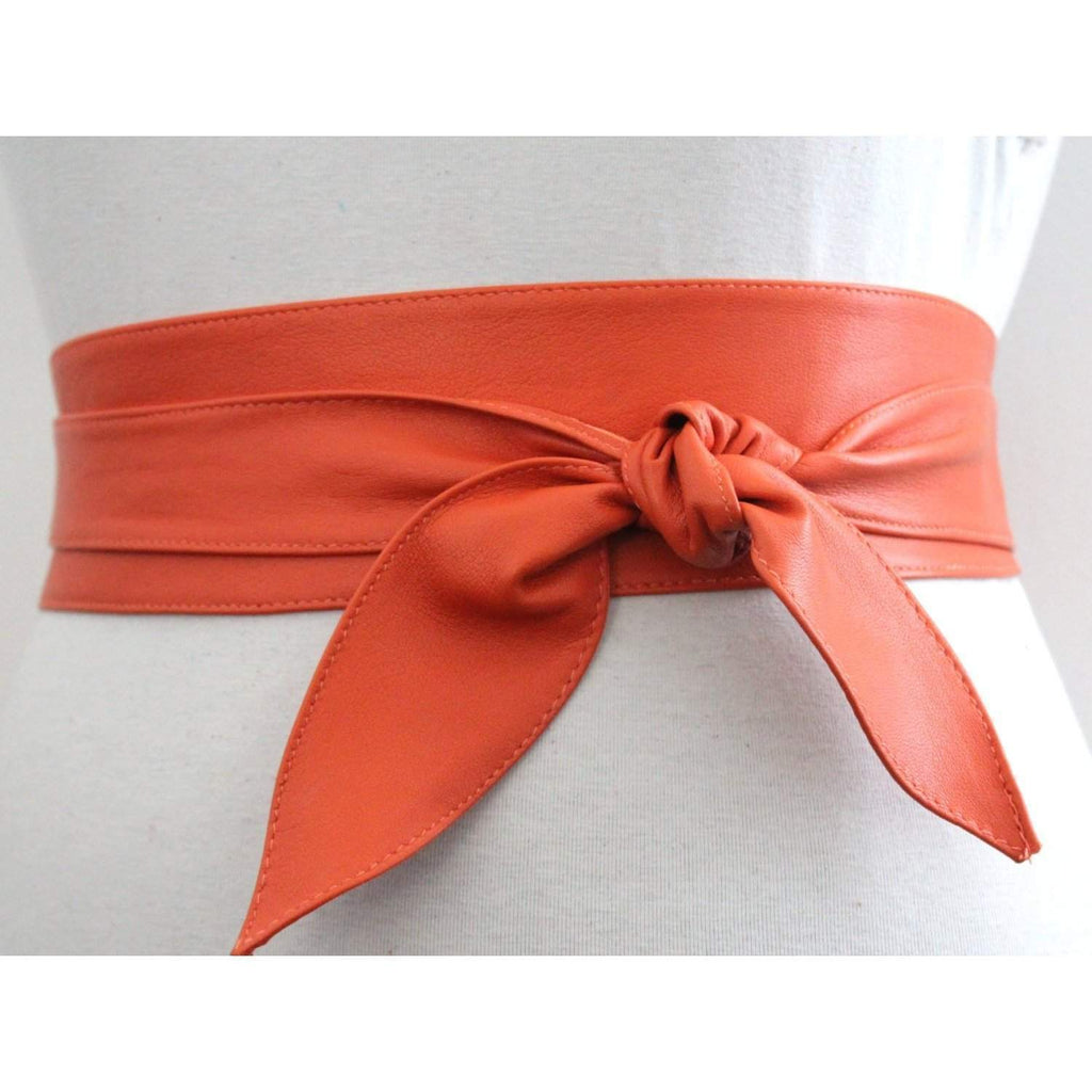 Orange soft Leather Obi Belt - loveyaayaa