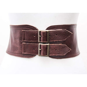 Ox Blood Brown Corset Leather Two Gold Buckle Belt | brown Belt | Corset Belt | Leather Buckle Belt | Tan Leather Buckle Belt | Plus size - loveyaayaa