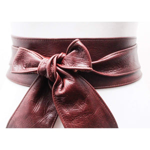 Ox Blood Brown Obi Belt | Leather Obi Belt | Sash Belt | Plus Size Accessory | Wrap Belt | Obi Belt | Tie Belt | Wide Waist Belt | Brown Obi - loveyaayaa