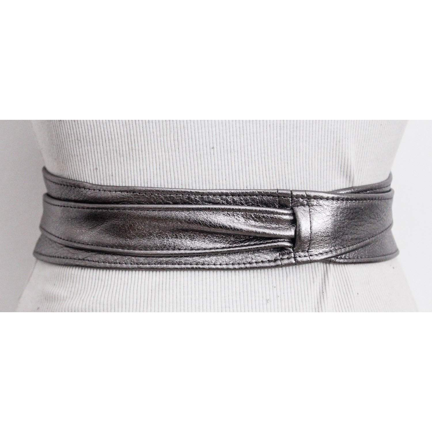 Pewter Silver Leather Obi Belt | Waist or Hip Belt | Leather tie belt | Real Leather wrap Belt | Bridesmaid belt - loveyaayaa