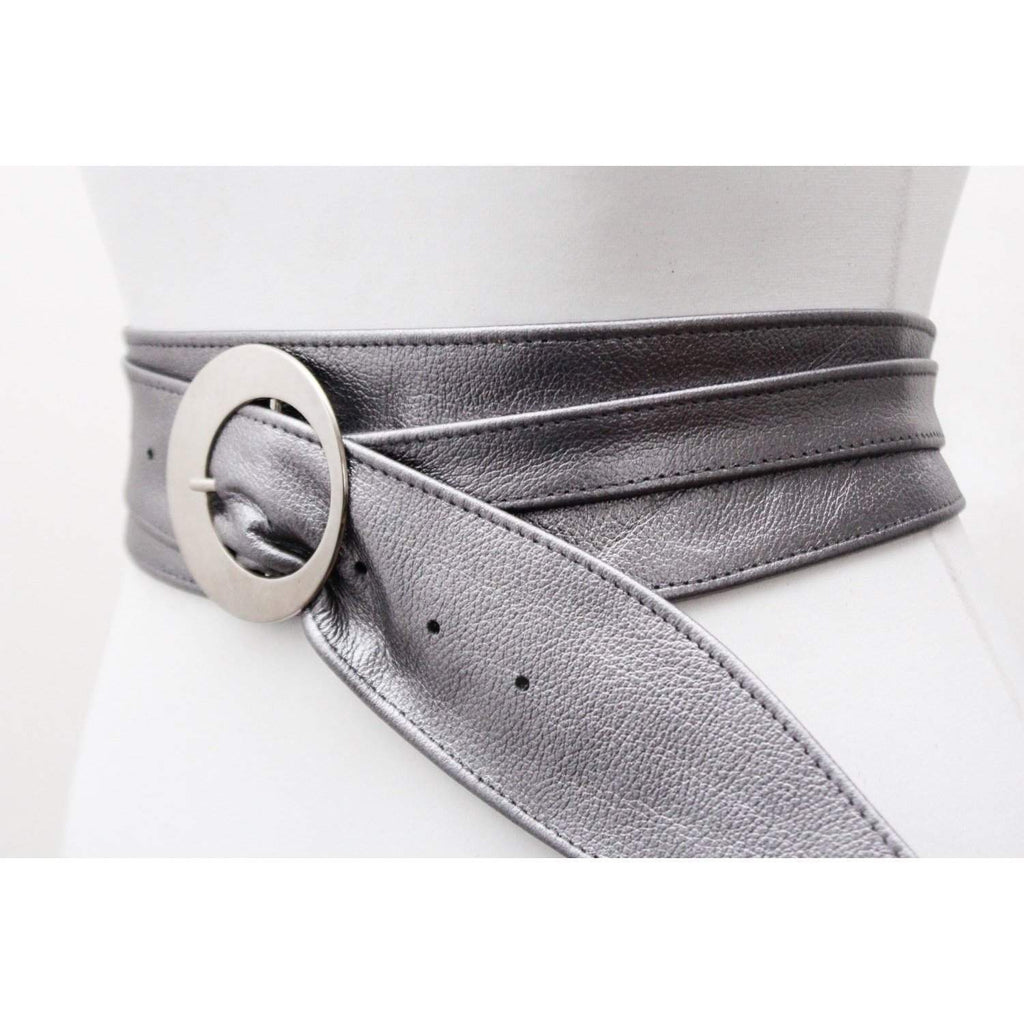 Pewter Silver Leather Obi Buckle Belt | Silver Blue Belt | Corset Obi Belt | Leather Buckle Belt | Plus Size Belts - loveyaayaa