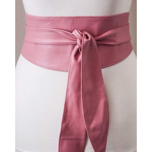 Pink Leather Tulip Tie Obi Belt - loveyaayaa
