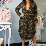 MILLY - Camouflage Print Shirt Dress