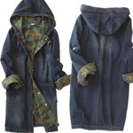 SONIA - Single-breasted long denim and camouflage hooded jacket
