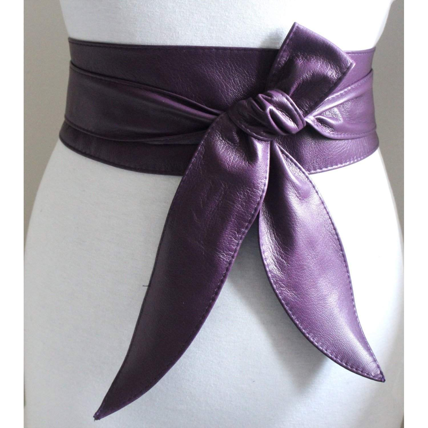 Purple Leather Obi Belt | Purple Waist Wrap Belt | Real Leather Belt - loveyaayaa