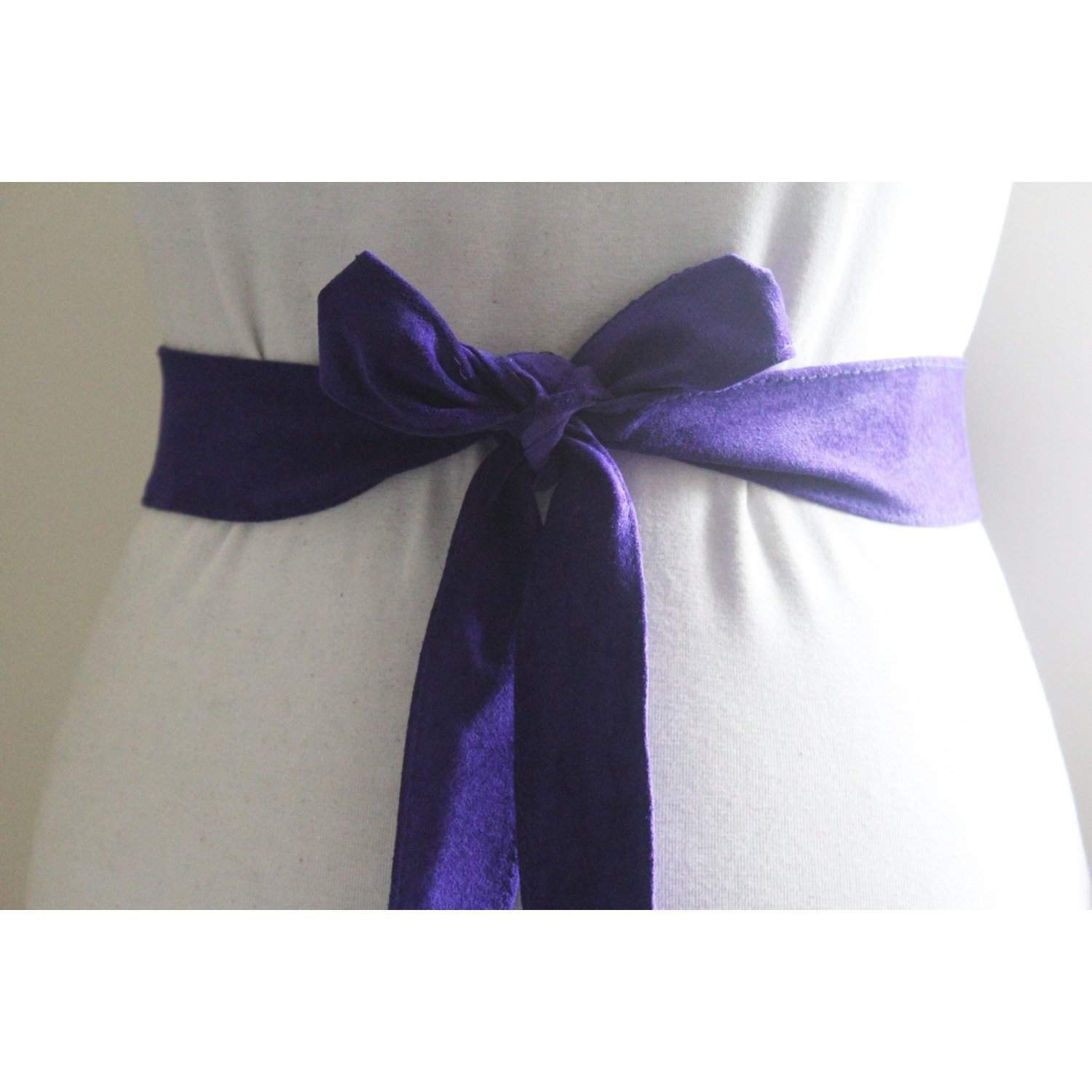 Purple Suede Thin Obi Belt - loveyaayaa