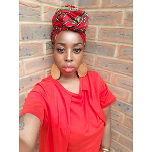 Red African Print Head wrap - loveyaayaa