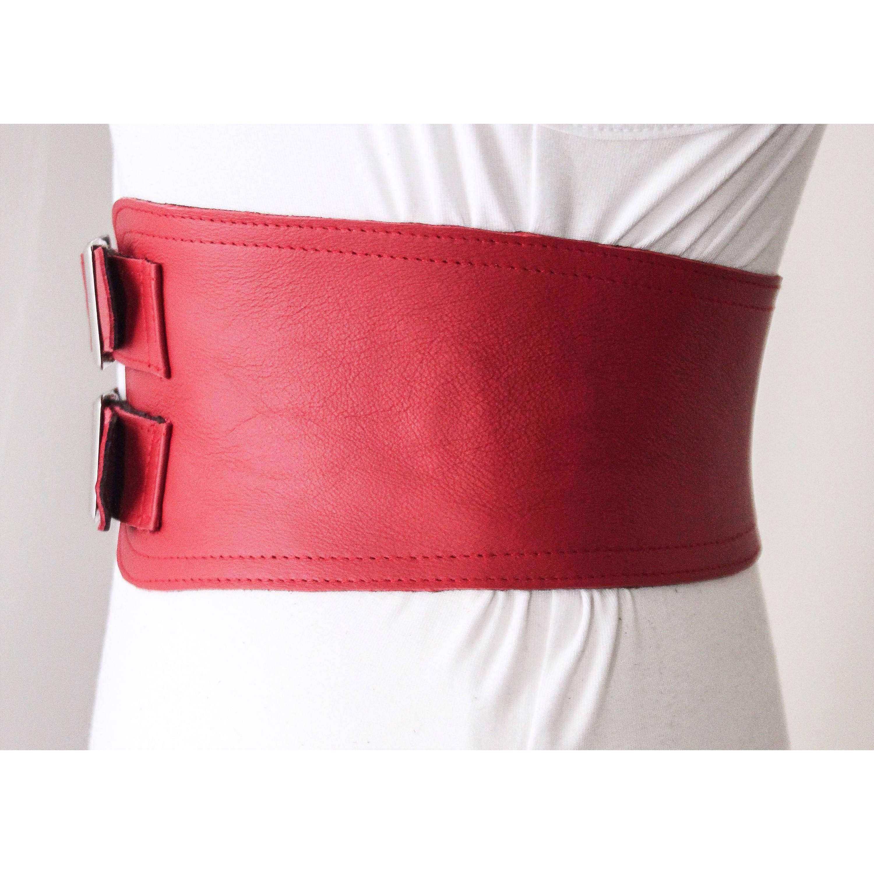Red Corset Leather Two Gold Buckle Belt | Leather Red Corset Belt - loveyaayaa