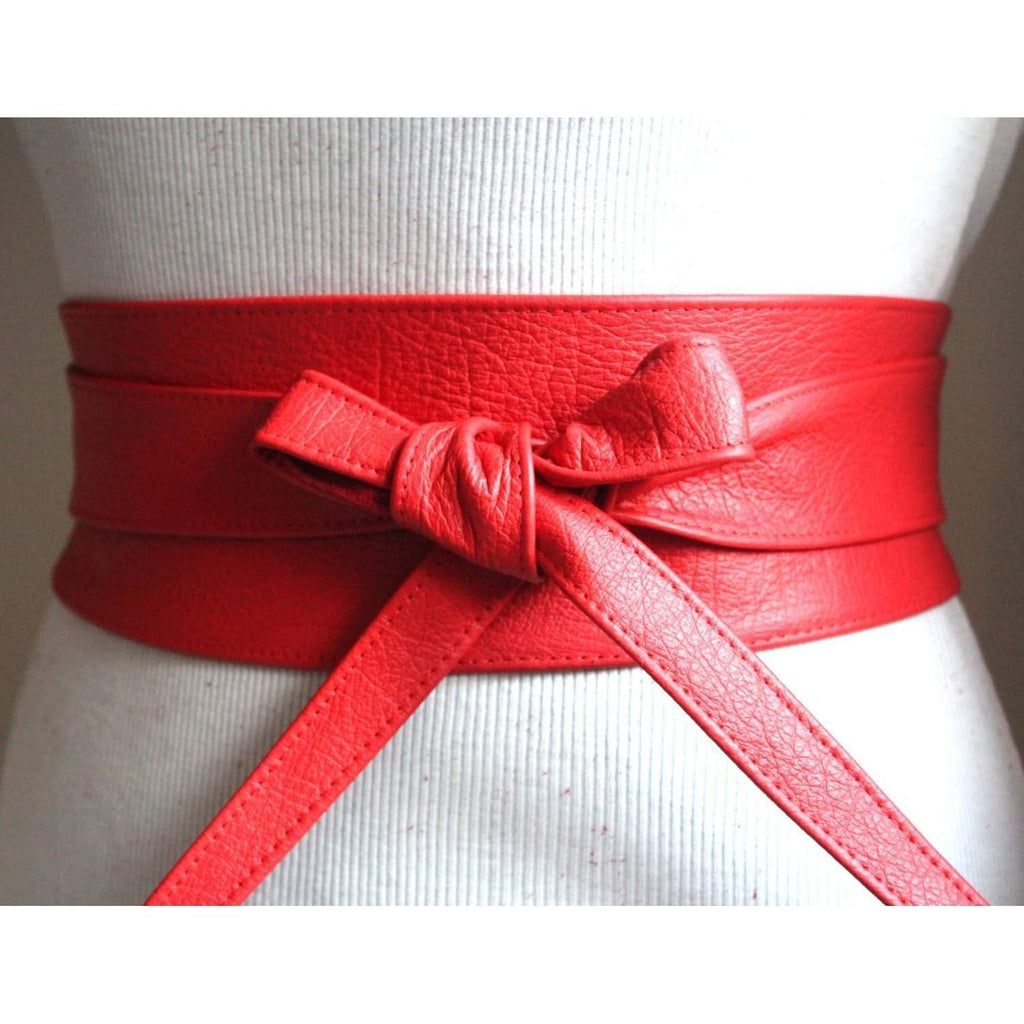 Red Leather Obi Belt - loveyaayaa