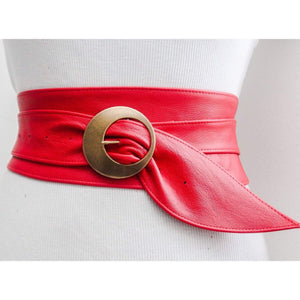 Red Leather Obi Buckle Belt - loveyaayaa