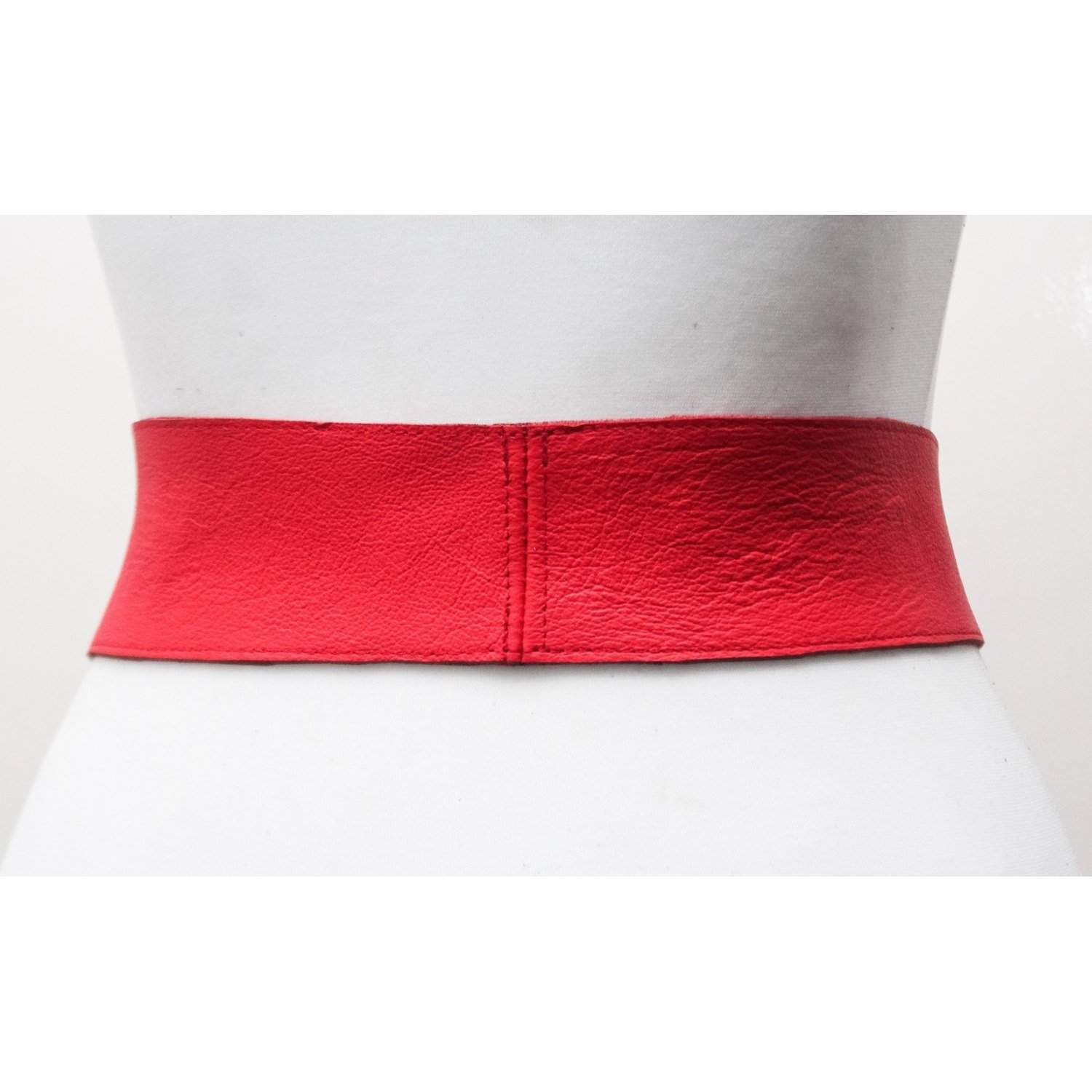 Red Leather Silver Buckle Belt - loveyaayaa