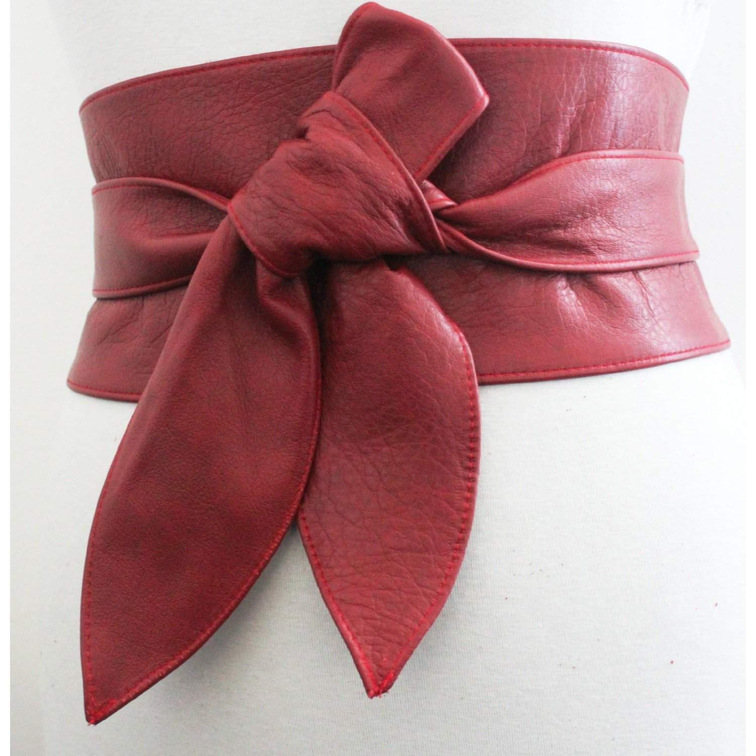 Red Leather tulip tie Obi Belt - loveyaayaa
