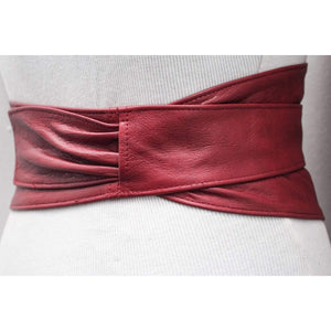 Red Leather Wide Obi Belt | Leather Red Corset Belt - loveyaayaa