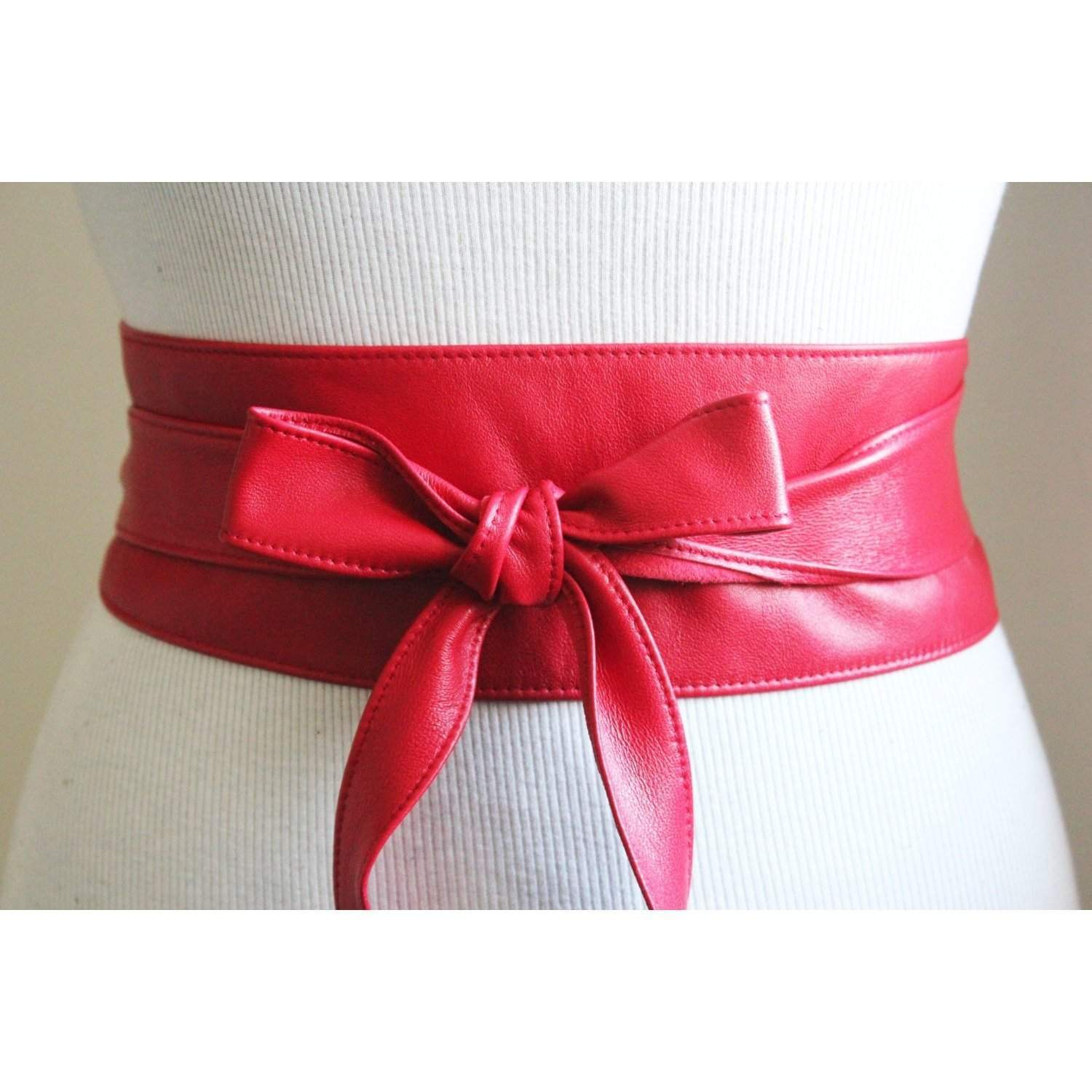 Red Nappa Leather Obi Belt - loveyaayaa