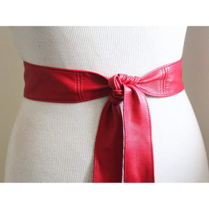 Red Thin Obi Belt Soft Leather - loveyaayaa