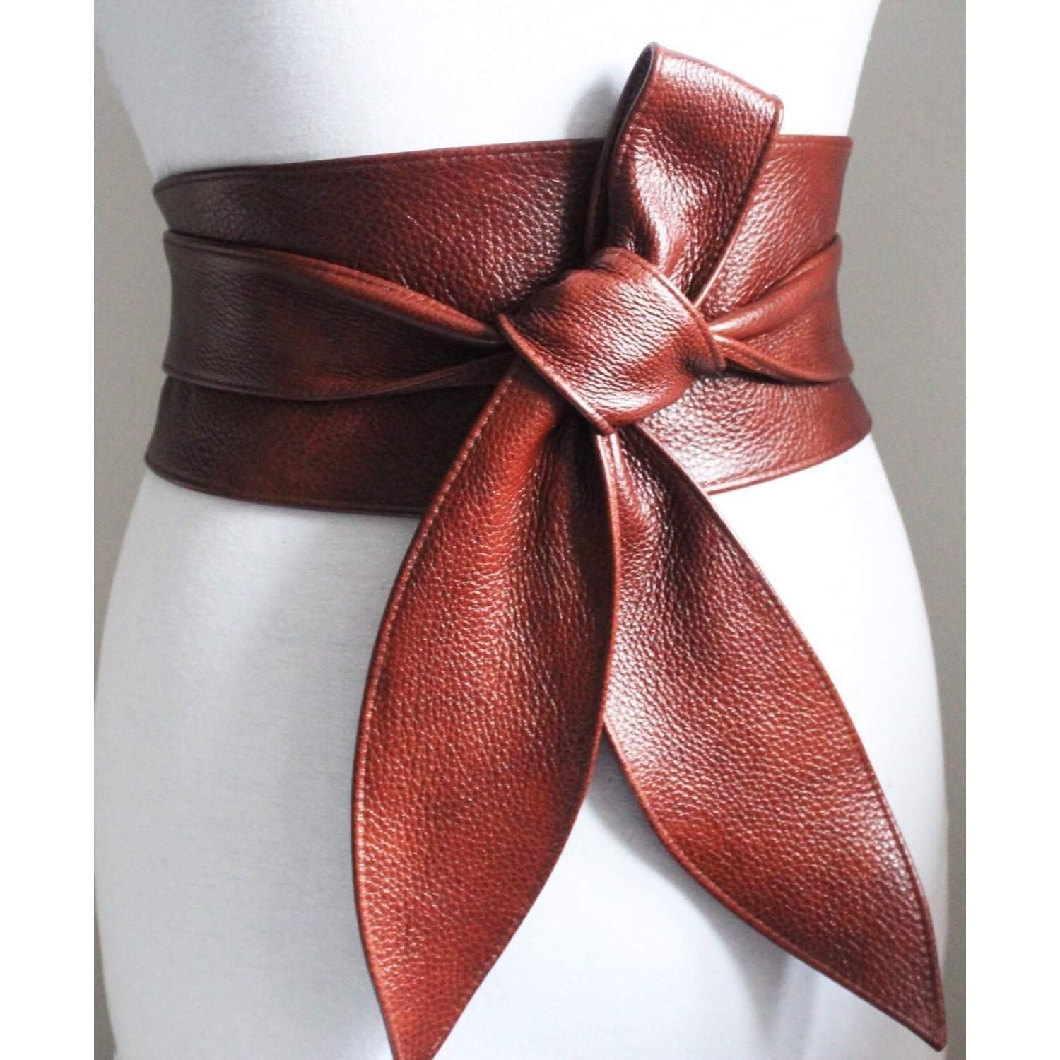 Rich Brown Leather Obi Belt tulip tie - loveyaayaa