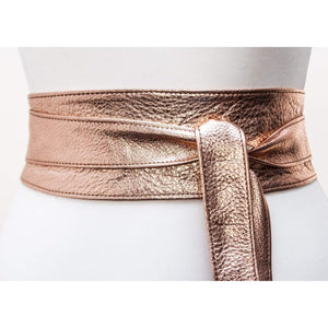 Rose Gold Leather Obi Belt - loveyaayaa
