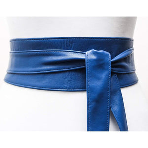 Royal Blue Leather Obi Belt | Blue Waist Corset Belt - loveyaayaa