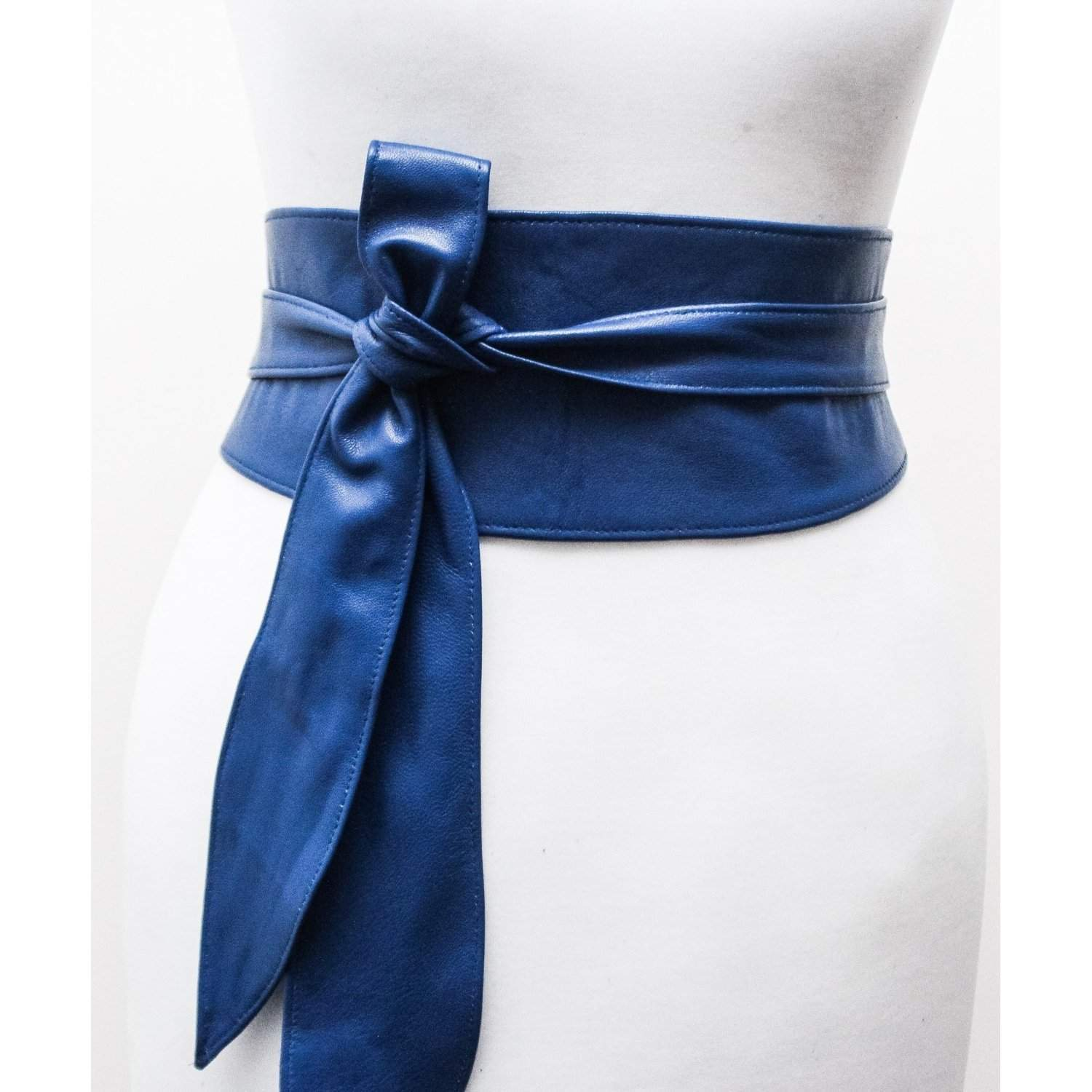 Royal Blue soft Leather Obi Belt | Blue Waist Wrap Belt - loveyaayaa