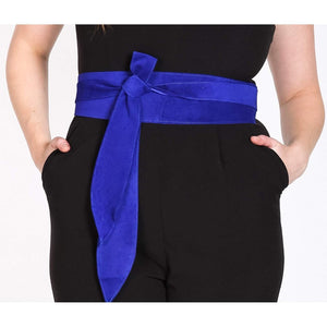 Royal Blue Suede Obi Belt - loveyaayaa
