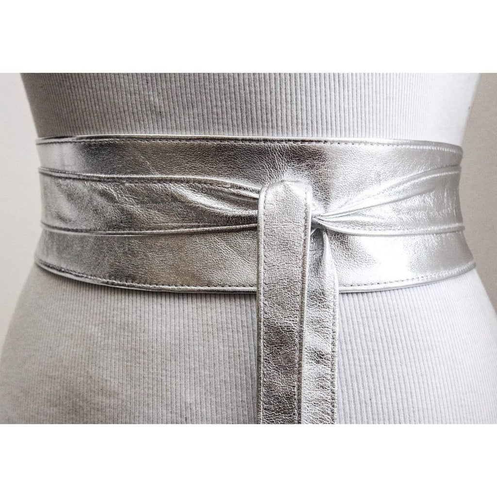 Silver Leather Obi Belt | Silver wrap belt - loveyaayaa