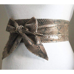 Snakeskin Leather Obi Tulip Tie Belt | Waist Sash Belt | Leather tie belt | Corset Leather Belt| Plus Size Belt - loveyaayaa