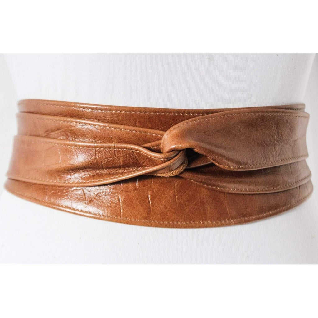 Tan Brown Croc effect Obi Belt Leather Croc finish  | Leather corset belt | Real Tan Leather Belt| waist Belt | Petit to Plus Size - loveyaayaa