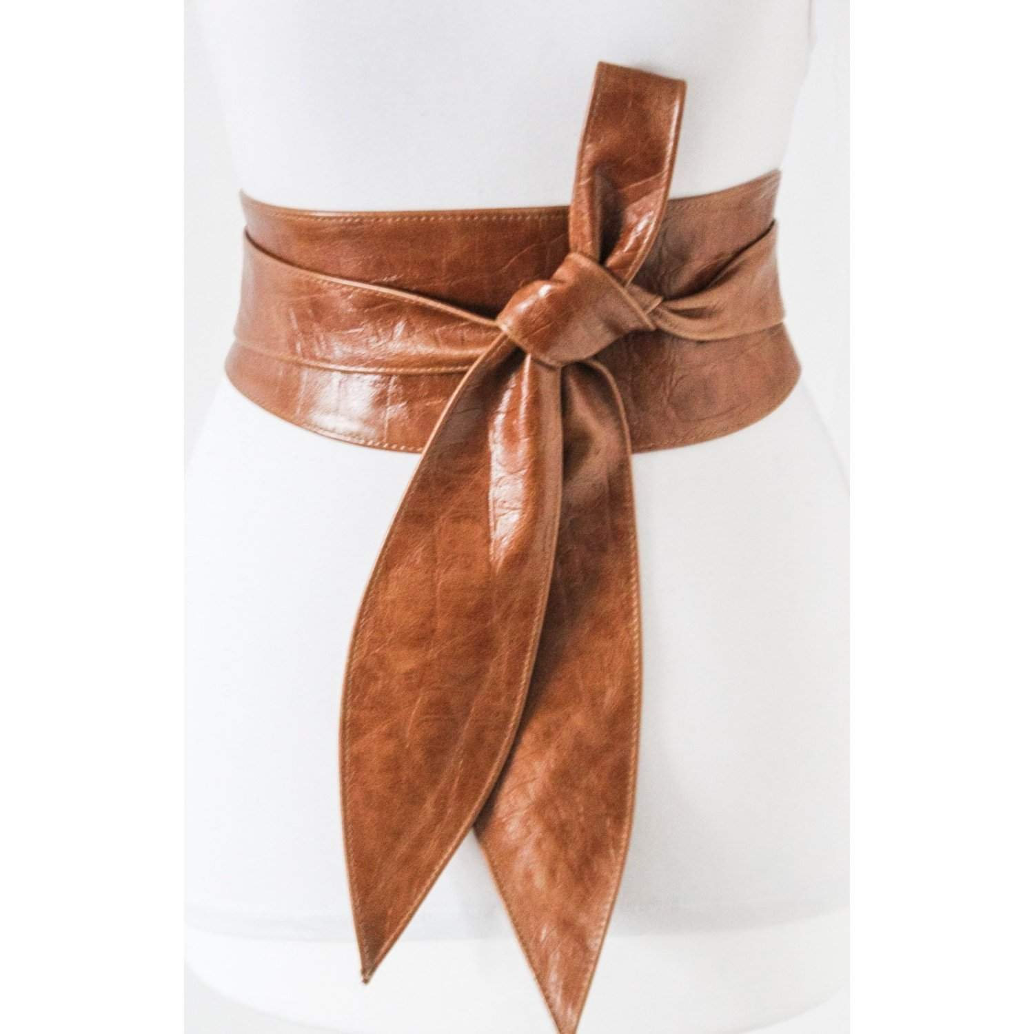 Tan Brown Croc effect Tulip Tie Obi Belt Leather Croc finish  | Leather corset belt | Tan Leather Belt| waist Belt | Petite to Plus Size - loveyaayaa