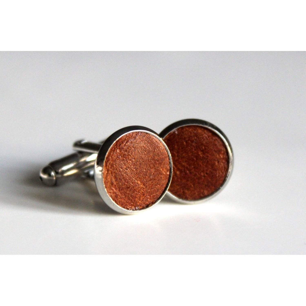 Tan Brown Leather Cufflinks - loveyaayaa