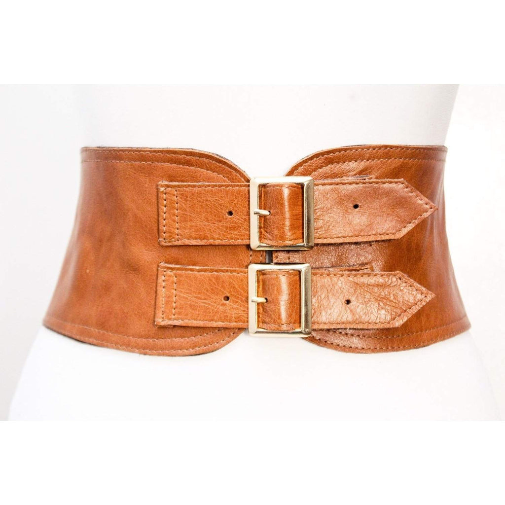 Tan Corset Leather Two Gold Buckle Belt - loveyaayaa