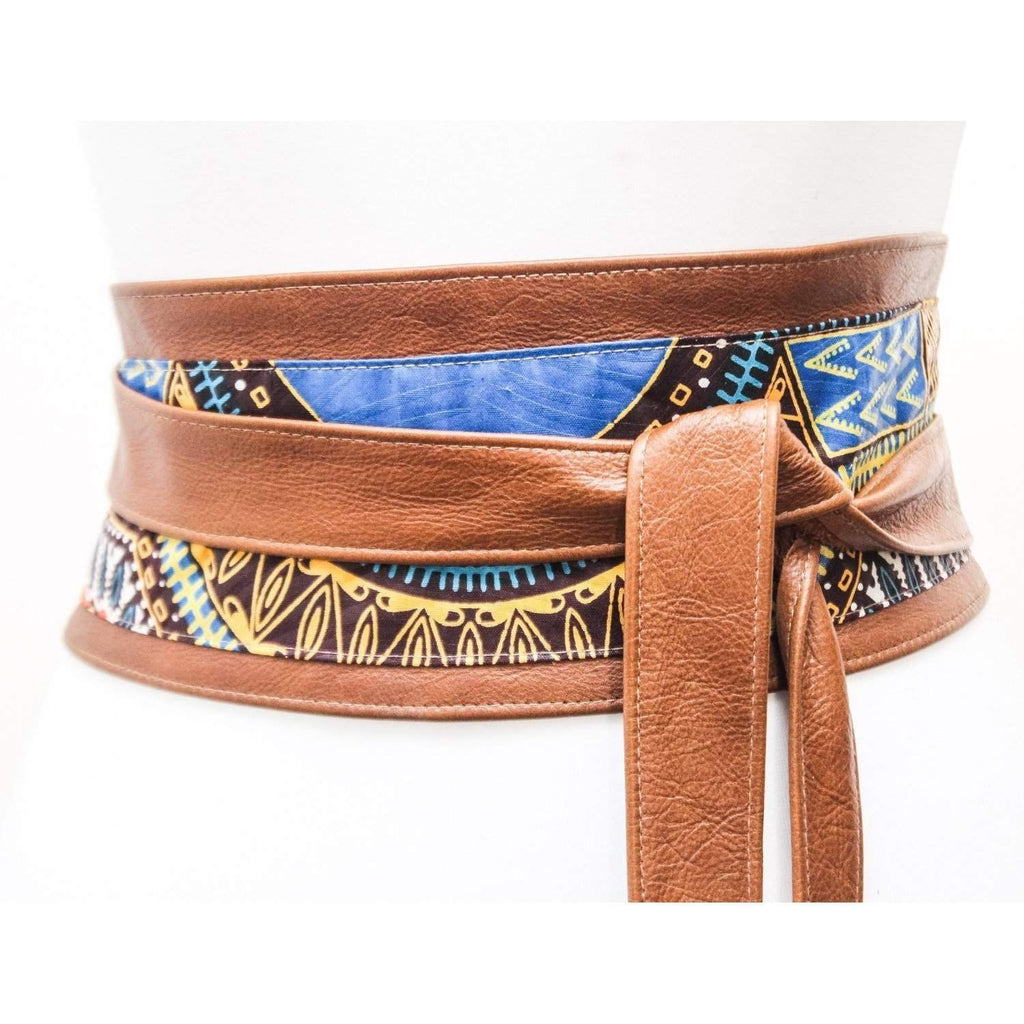 Tan Leather Dashiki Wax Print corset Obi Belt | Angelina Print Waist Belt | Leather Ankara Obi Belt | Plus Size Belt - loveyaayaa