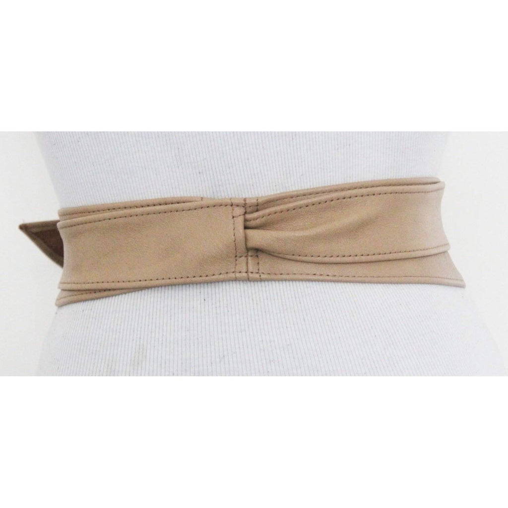 Tan Leather Tulip Tie Obi Belt l Obi Corset Belt | Sash Tie Belt | Waist Belt | Corset Belt | Plus size belts - loveyaayaa