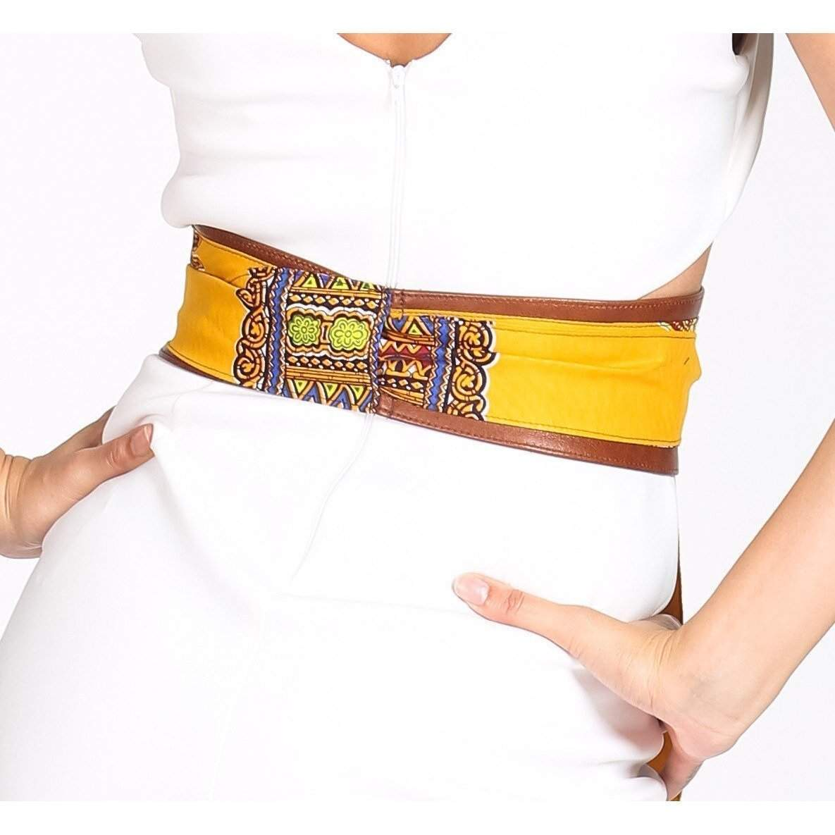 Tan Leather Yellow Dashiki Wax Print corset Obi Belt - loveyaayaa