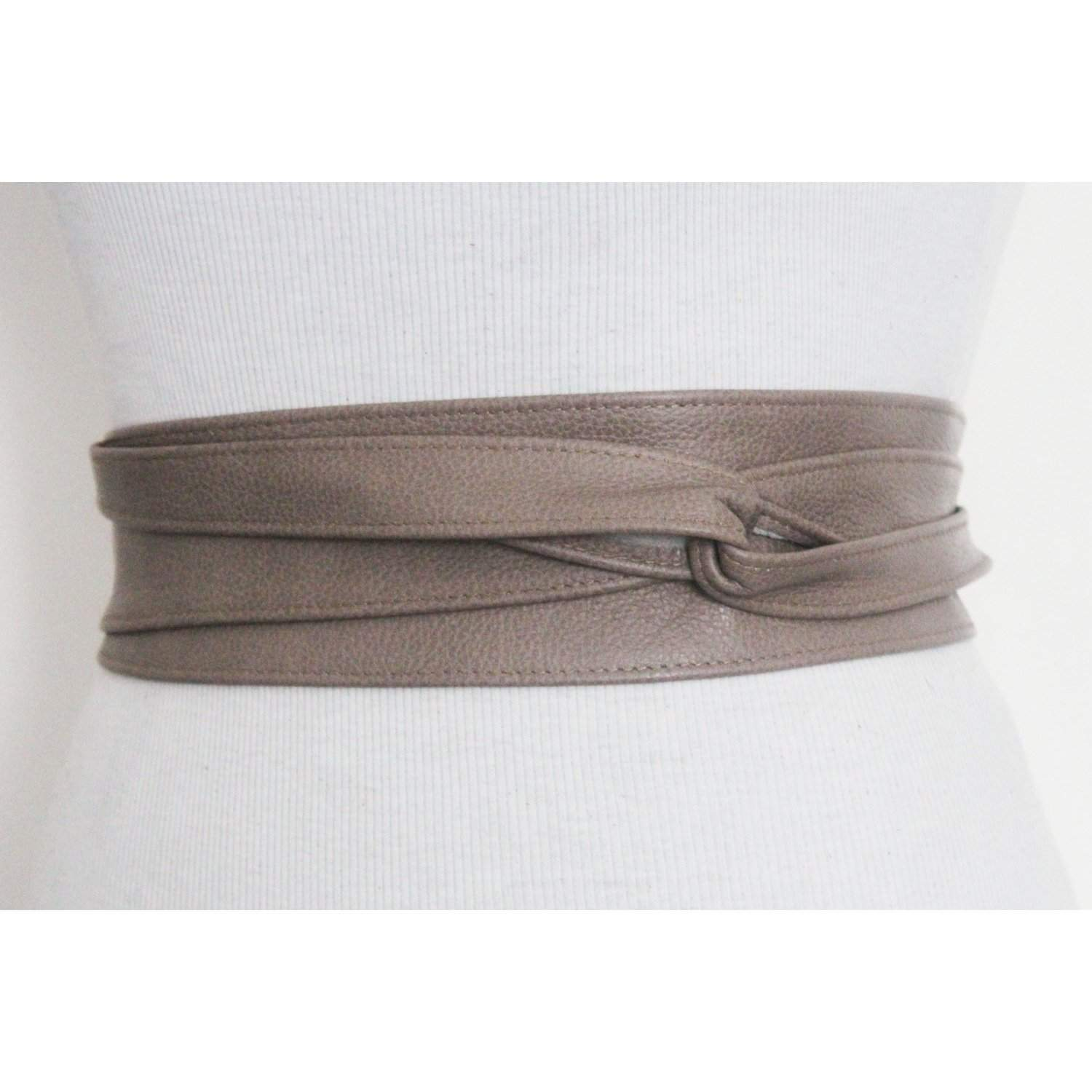 Taupe Brown Leather Obi Belt | Leather tie belt | Real Leather Belt| Handmade Corset Belt | Plus size belts - loveyaayaa