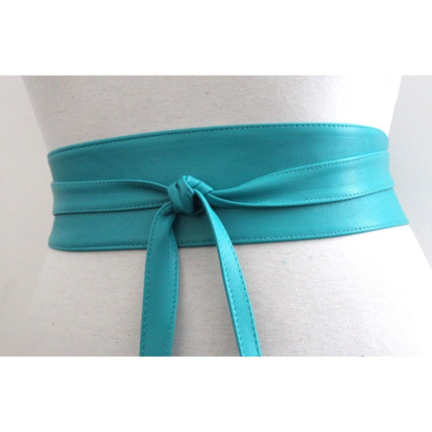 Turquoise Belt | Turquoise Leather Obi Belt  | Sash belt | Corset Belt | Bridal Sash Belt | Obi Belt | Plus Size Accessory | Wrap Tie belt - loveyaayaa