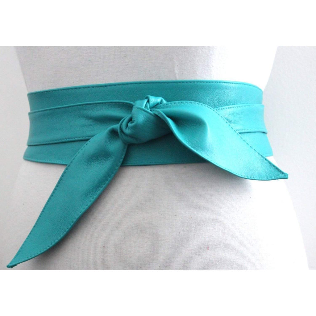Turquoise Leather Obi Belt tulip tie, Bridesmaid Sash Belt, Real soft Leather Belt, Waist Belt, Wrap Belt, Plus size - loveyaayaa