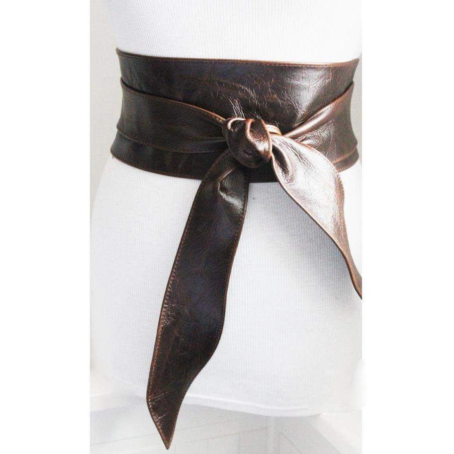 Vintage Dark Brown Leather Obi Tulip tie Belt | Waist or Hip Belt | Sash tie belt | Real Leather Belt| Corset Belt | Plus size belts - loveyaayaa